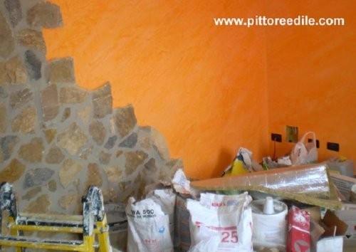 Stucco antico arancione, pietre e ...materiali - Imbianchino Pittore ...