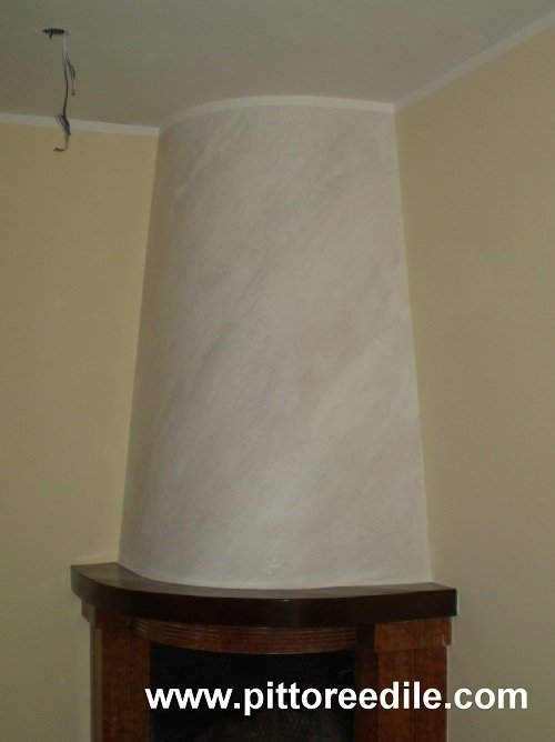 Decorazione marmorino calce bicolore cappa camino san - Cappa camino cartongesso ...