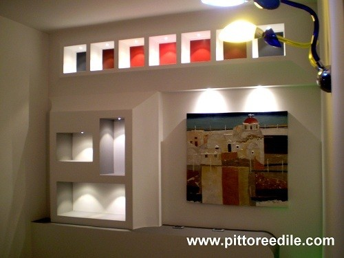 Cartongesso salone awesome libreria bianca with - Costi parete cartongesso ...